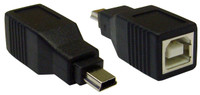 USB B Female to USB Mini-B 5 Pin Male Adapter