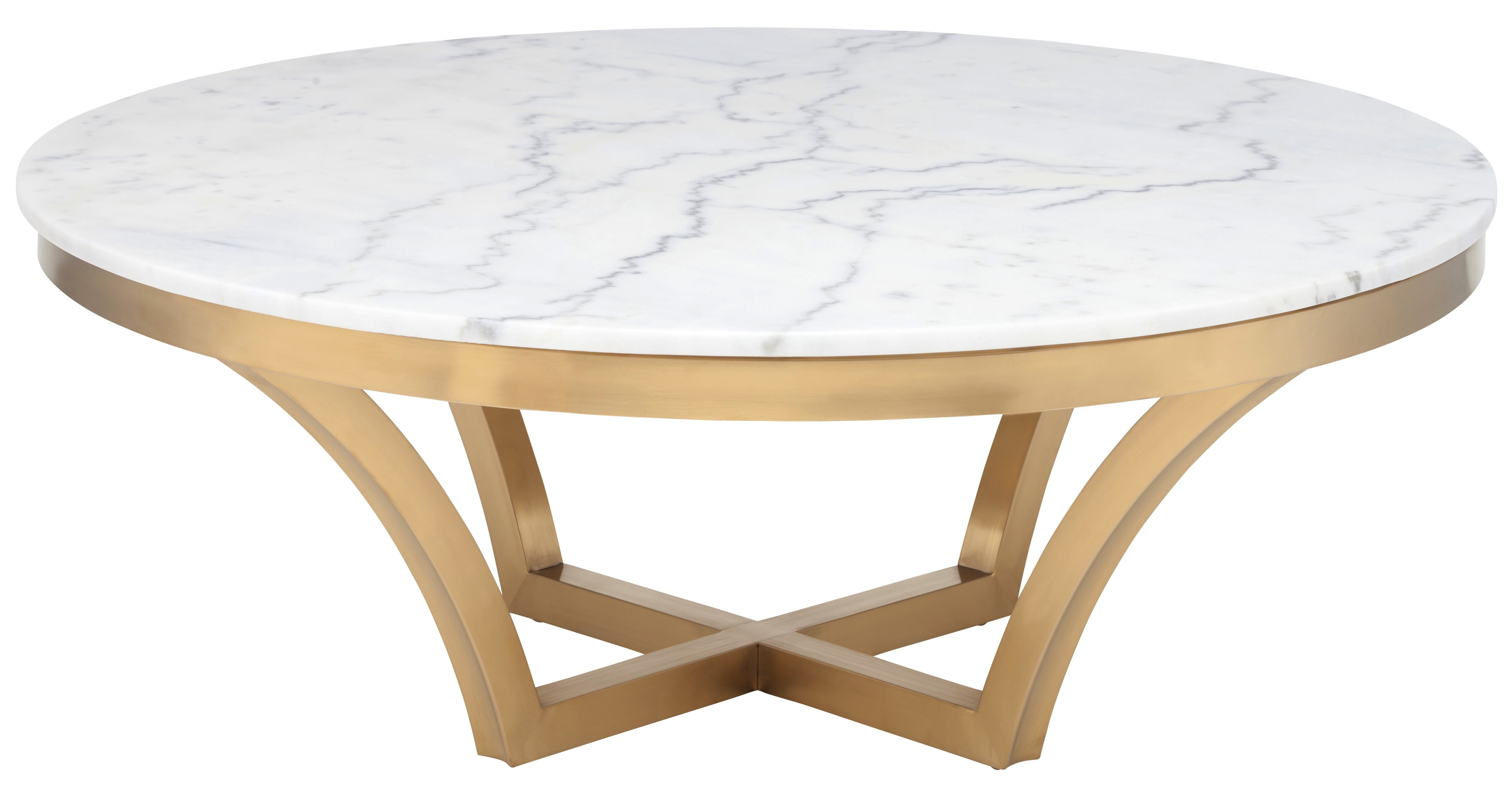 Nuevo Aurora Coffee Table in Brushed Gold Base and White Marble