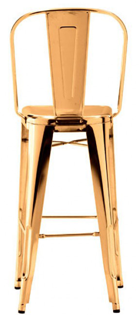the back view of the elio bar chair gold