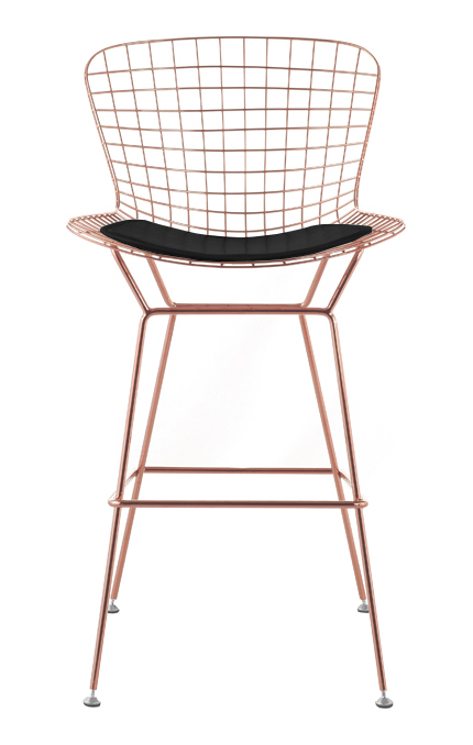 rose gold bar stools. Bertoia-stool-rosegold-black-pad-3.jpg Rose Gold Bar Stools A