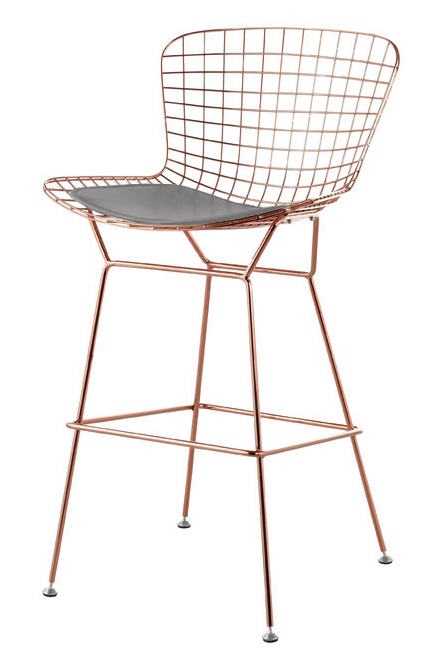 Bertoia counter stool chair in rose gold wire bertoia bar and counter chairs - Bertoia wire counter stool ...