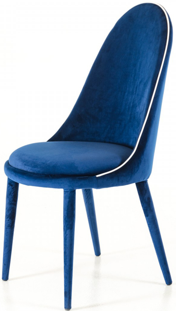Now available at AdvancedInteriorDesigns.com, the Zephyr Blue Velvet Dining Chairs.