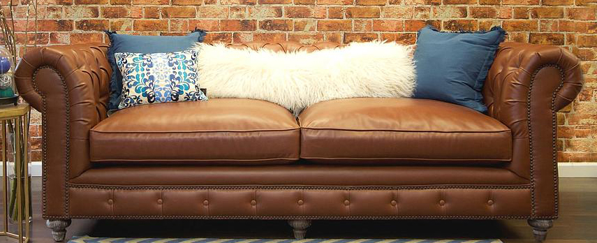 low priced brown leather chesterfield sofa