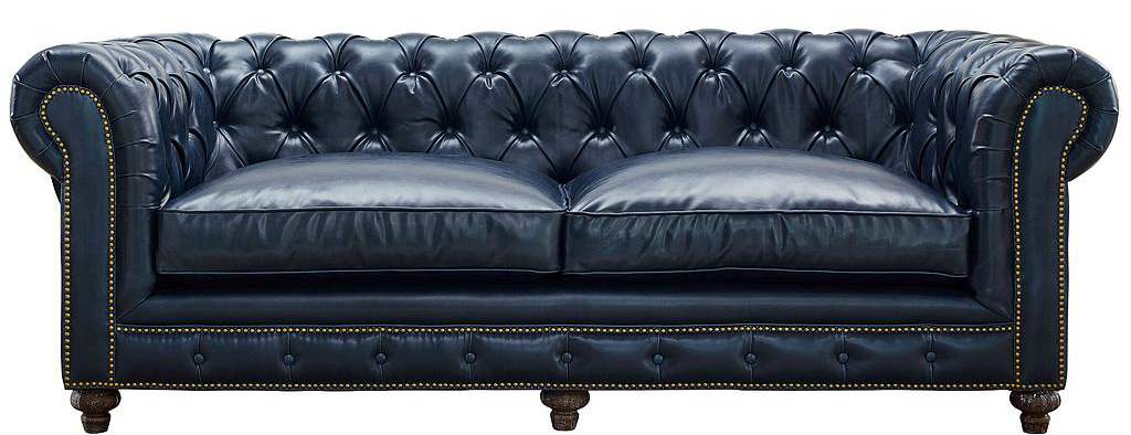 The Chesterfield Blue Sofa In Leather is 100% handmade