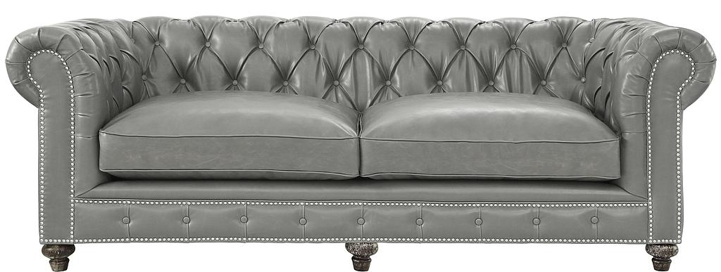 100% hand made chesterfield leather grey sofa