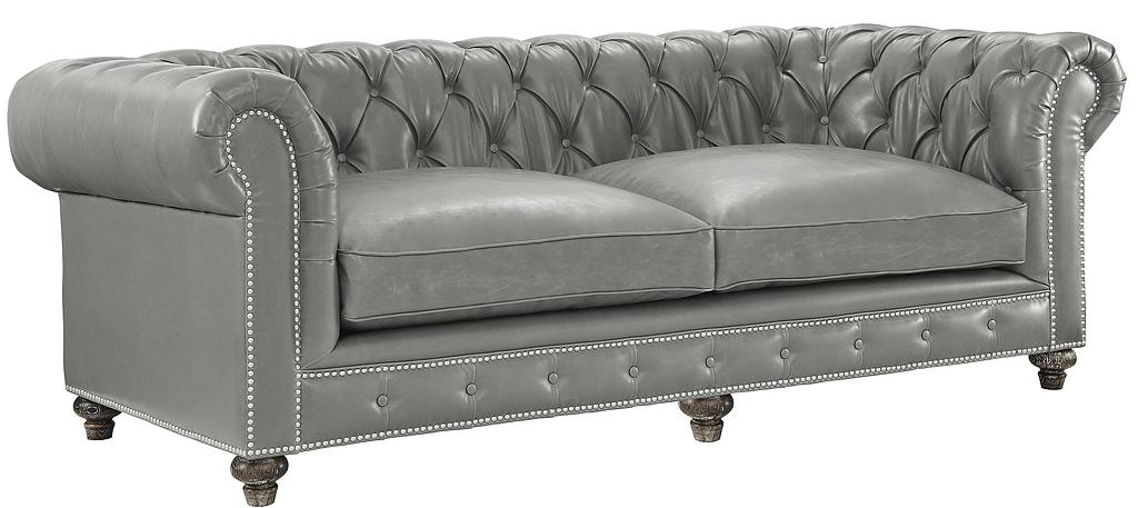 New Low Priced Chesterfield Sofa In Grey Leather