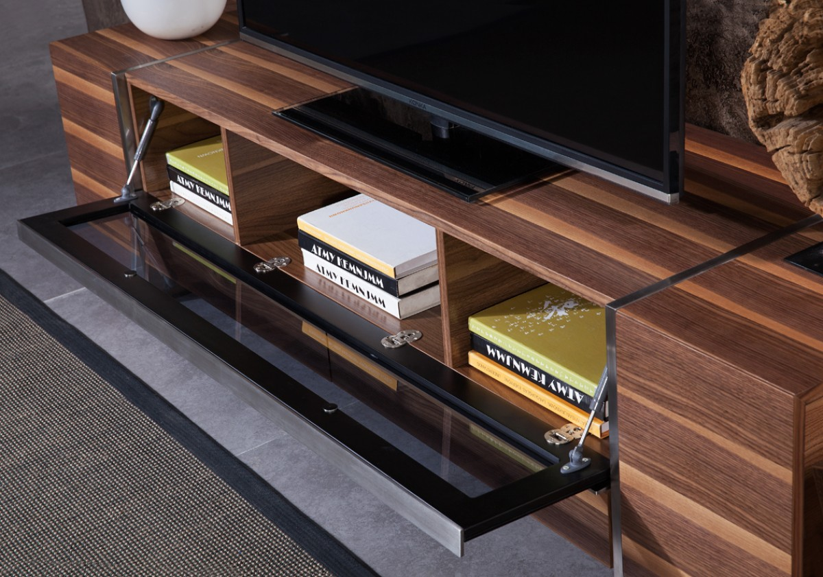 close up shot of igor modern walnut tv stand