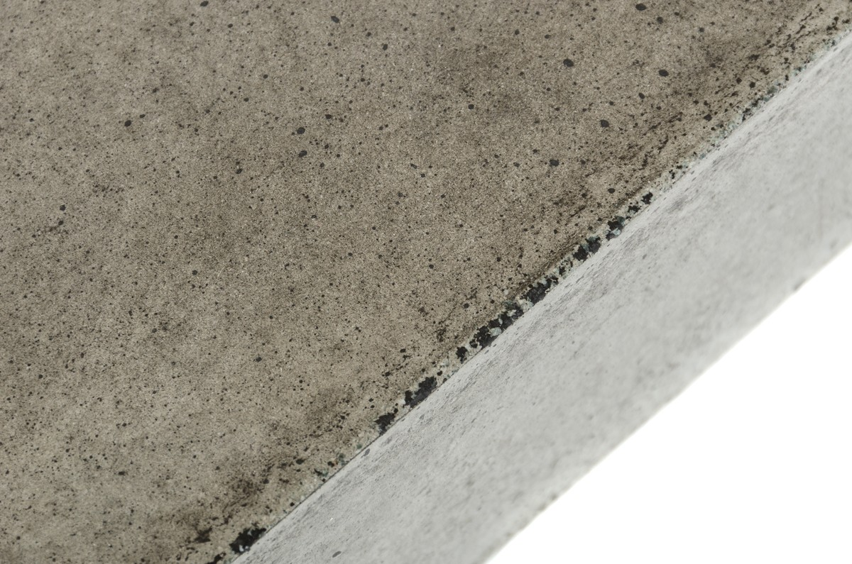 close up shot of the benciveni concrete top coffee table