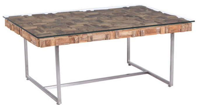 new recycled teak coffee table with brushed stainless steel legs