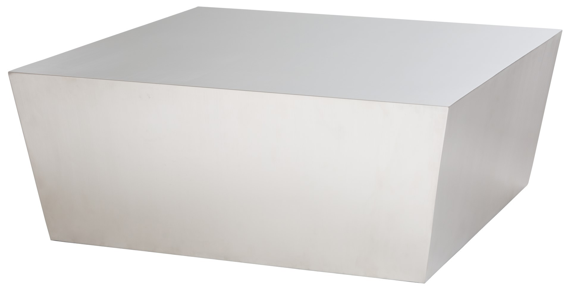 the cube coffee table brushed stainless steel by nuevo living