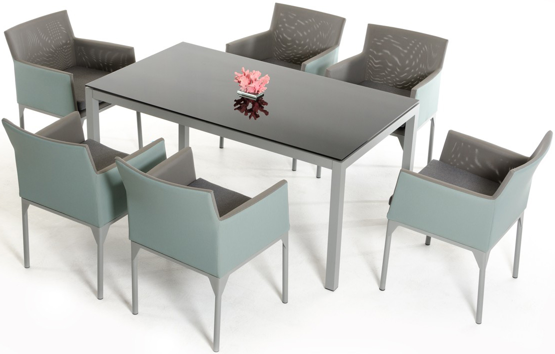 AdvancedInteriorDesigns.com presents the brand new Pinarello Cyan Weatherproof Outdoor Dining Set