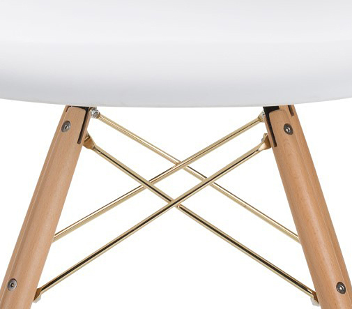 the earnest dining chair in white with gold
