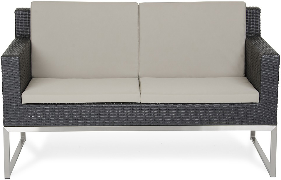 brand new fakistra black rattan loveseat available at AdvancedInteriorDesigns.com