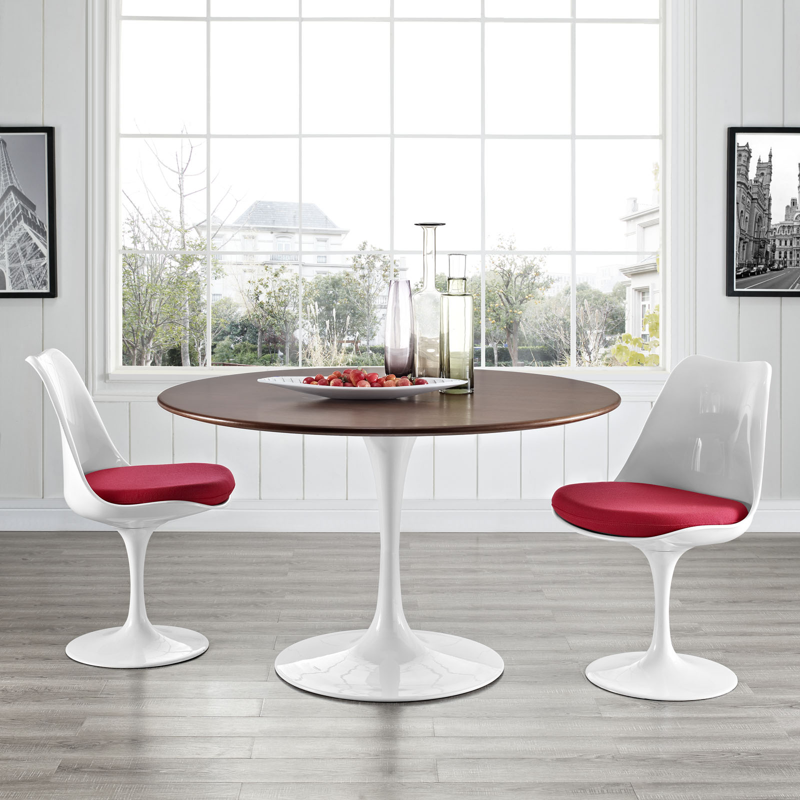 Flower Dining Table Walnut Round Top Mid Century Dining Tables