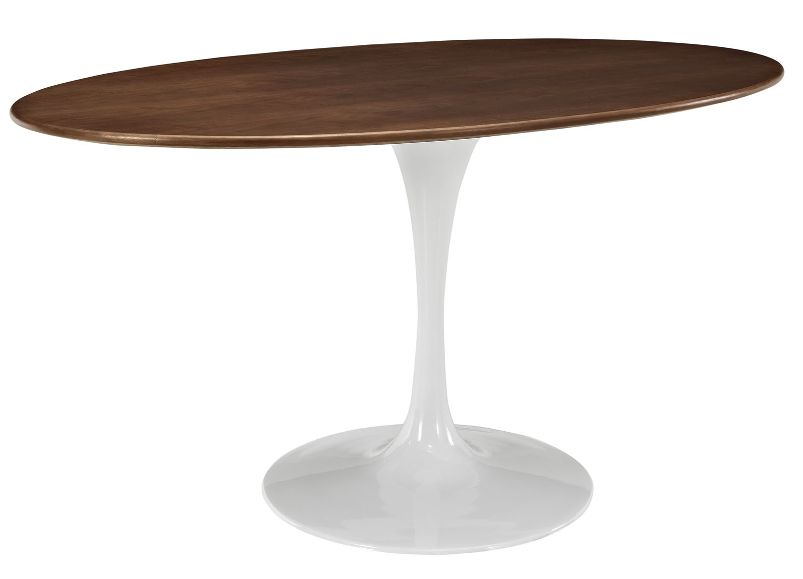 Flower tulip oval dining table walnut home and office for Tulip dining table