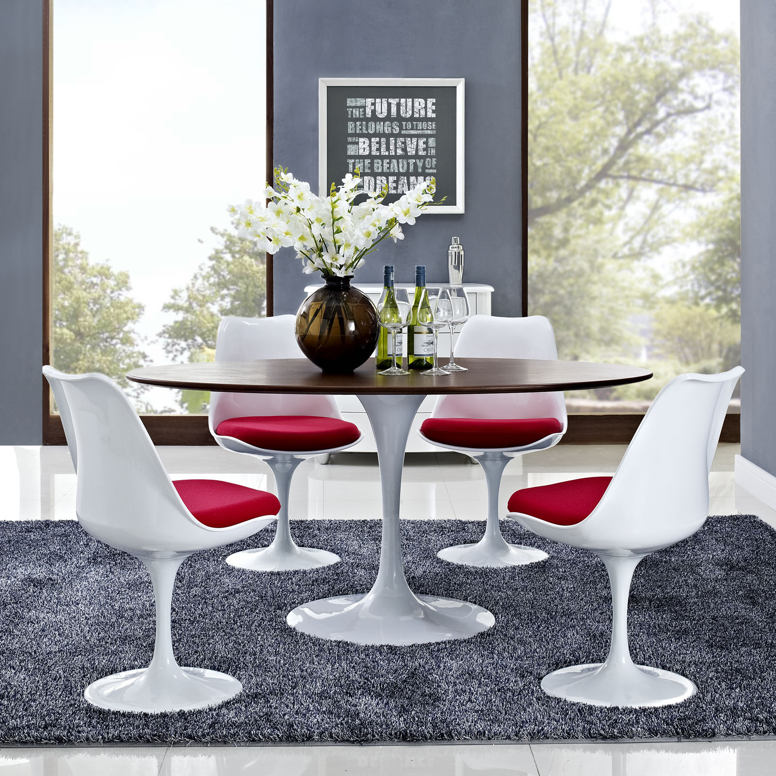 ... Flower Dining Table Oval With Tulip Chairs ...