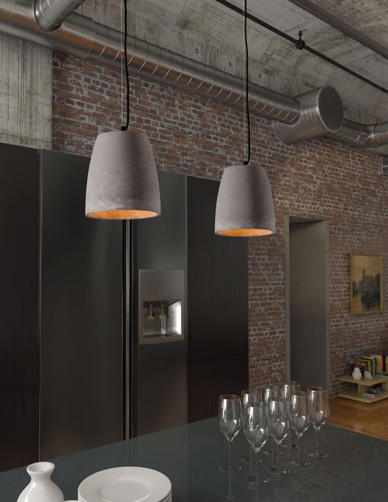 concrete grey fortune ceiling lamp