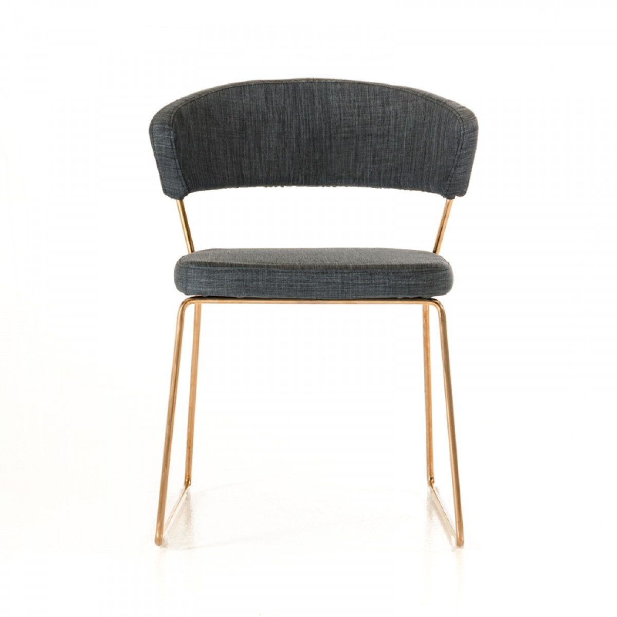 Charmant ... Gray Fabric Dining Chair With Rose Gold Frame ...