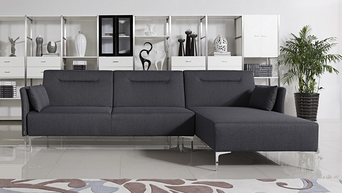 Bellino Grey Fabric Sectional Sofa With Convertible Bed Modern