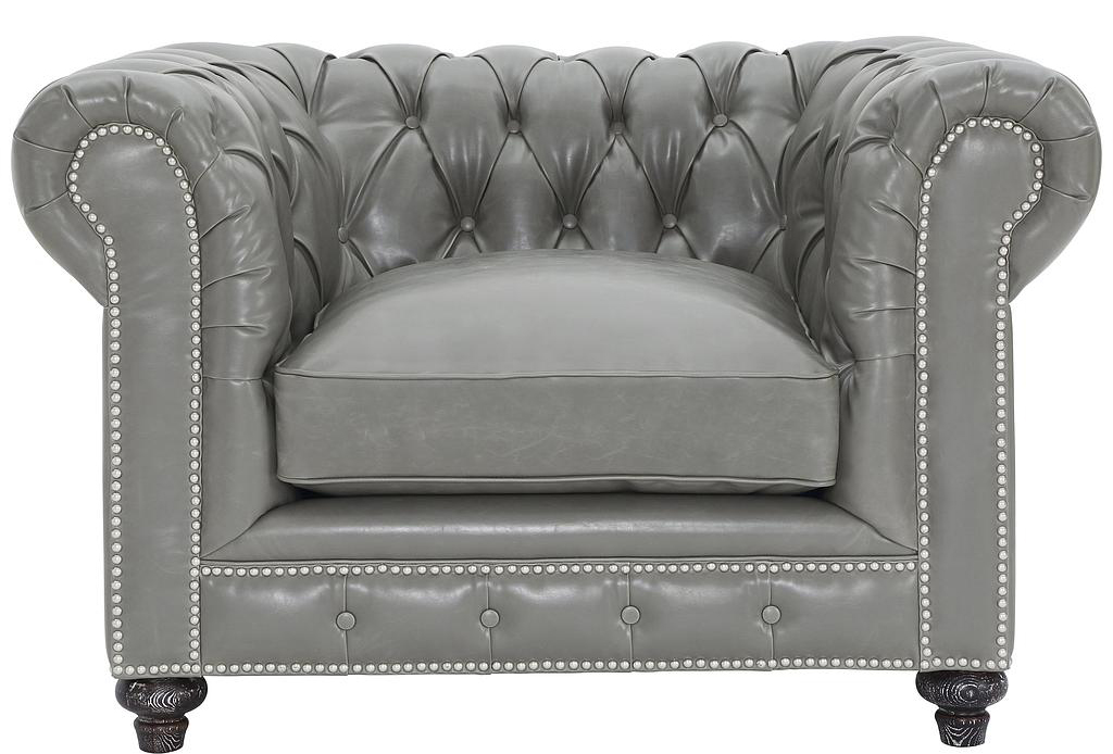 ... Advanced Interior Designs Presets A Brand New Grey Leather Chesterfield  Club Chair 100% Handmade