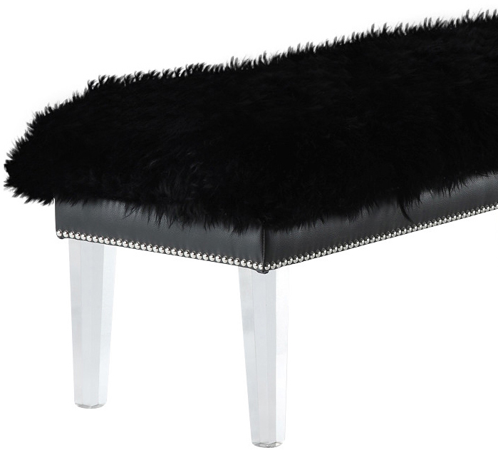 the helena sheepskin bench in black