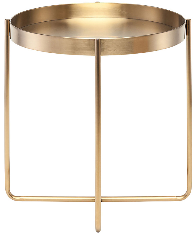 the gaultier side table by nuevo living is made with stainless steel and is brushed gold plated