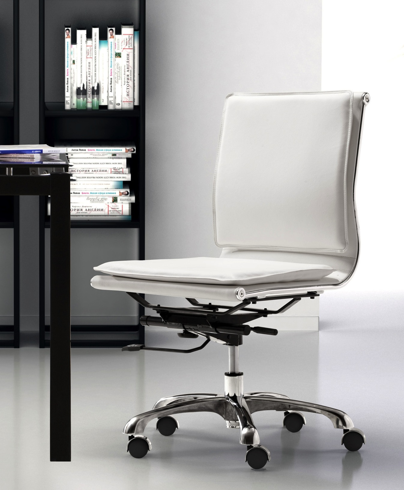 lider plus armless office chair in white or black office chairs for