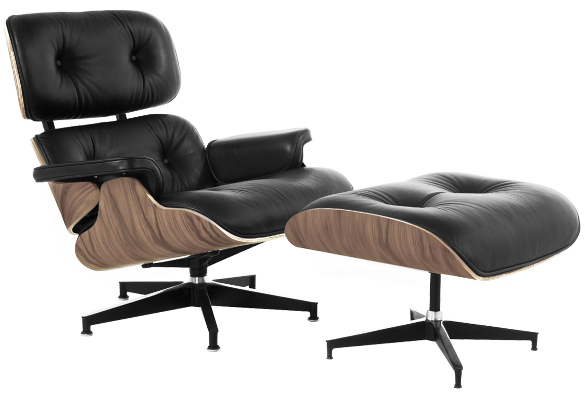 Amazing Lux Lounge Chair Black Leather Walnut Frame ...