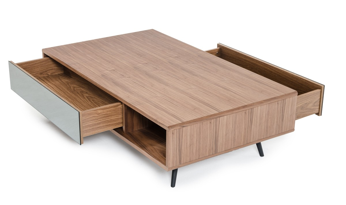 The Aiden Mid century modern walnut coffee table features a side cubby and a mirrored drawer
