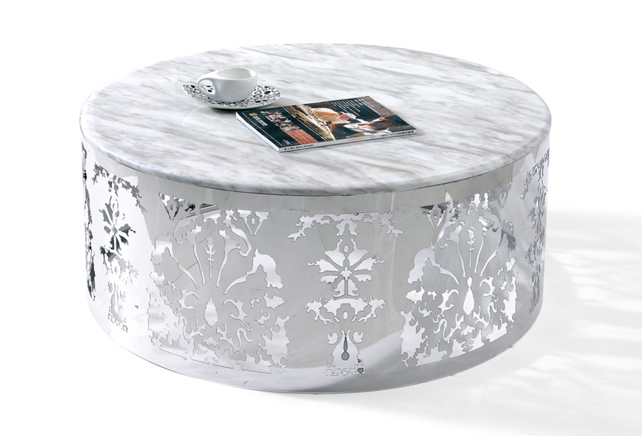 This is the Eliza modern marble coffee table. This table is available at AdvancedInteriorDesigns.com