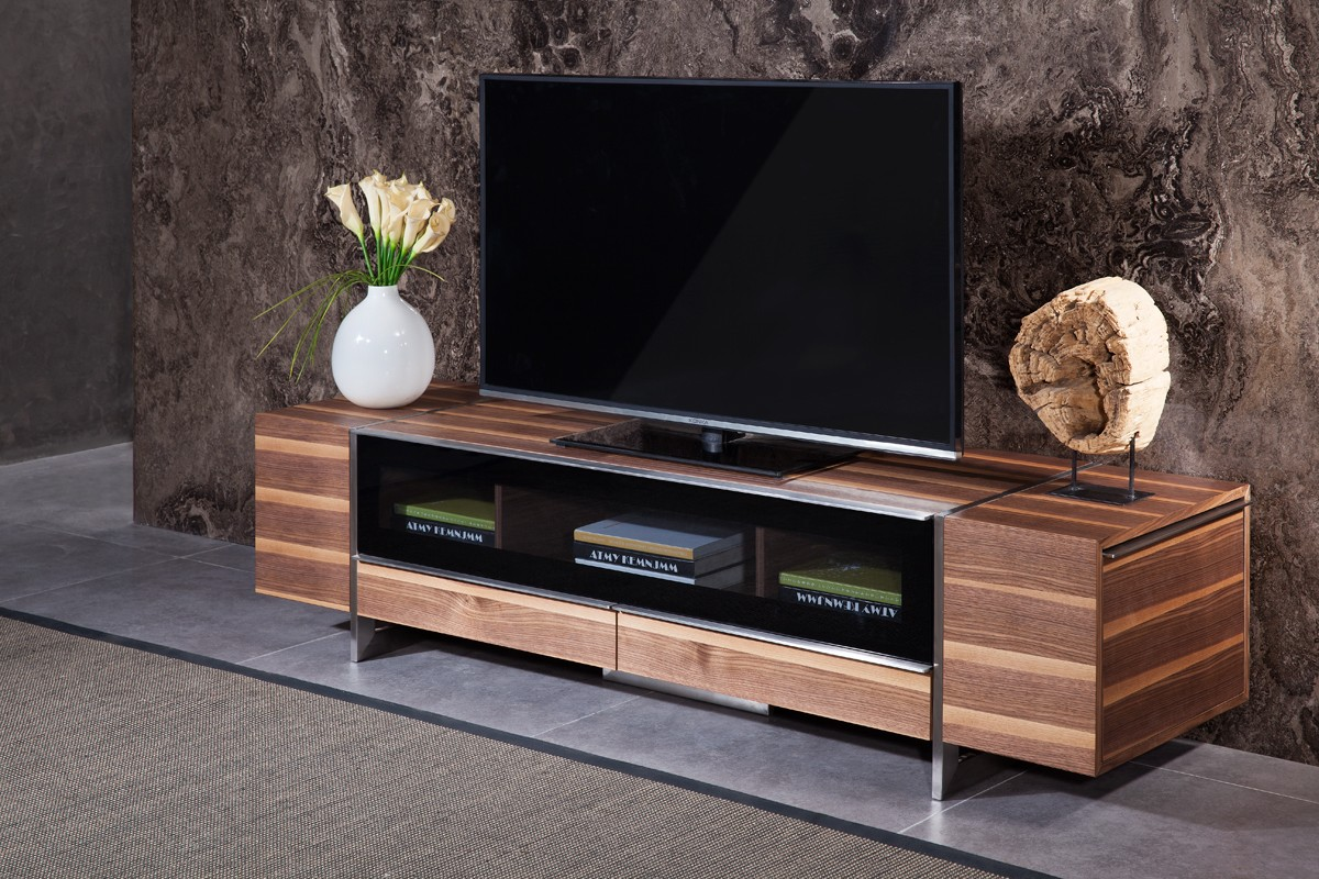 Igor modern walnut tv stand modern tv stand walnut - Media consoles for small spaces plan ...