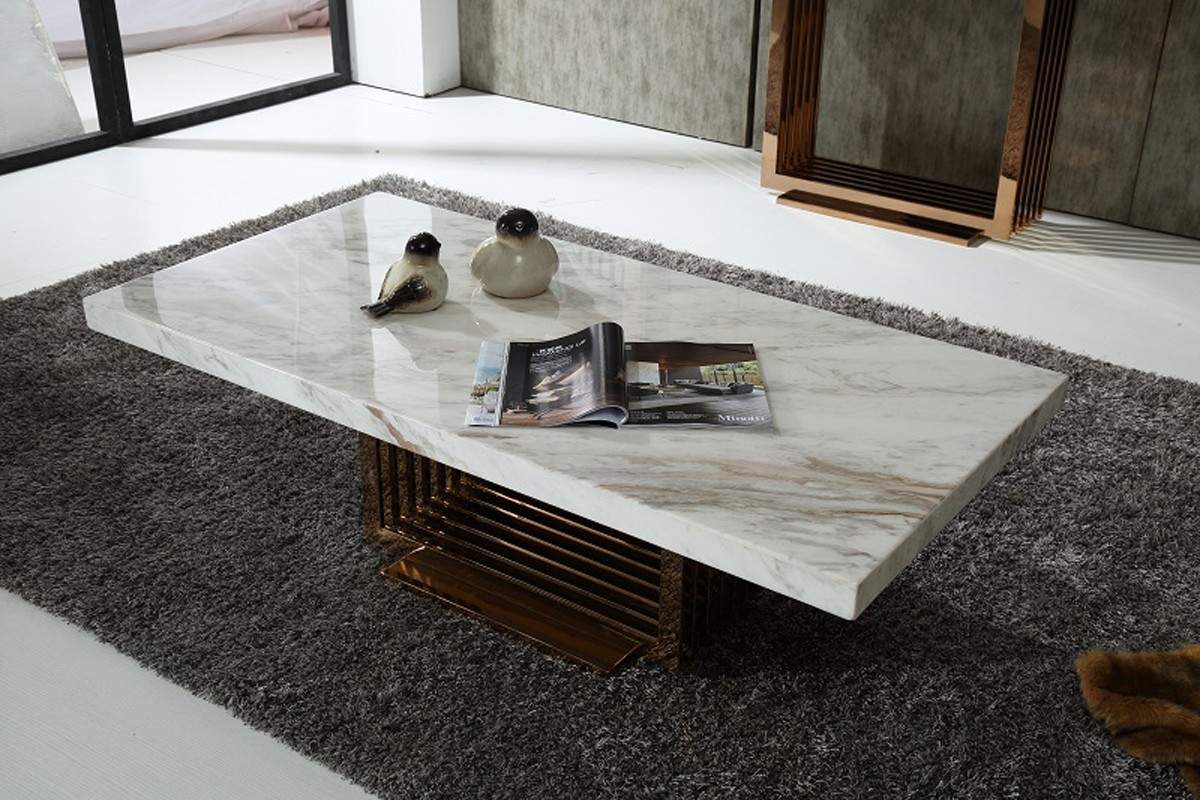 Fabrizio Modern White Marble Coffee Table Modern Coffee Tables Marble