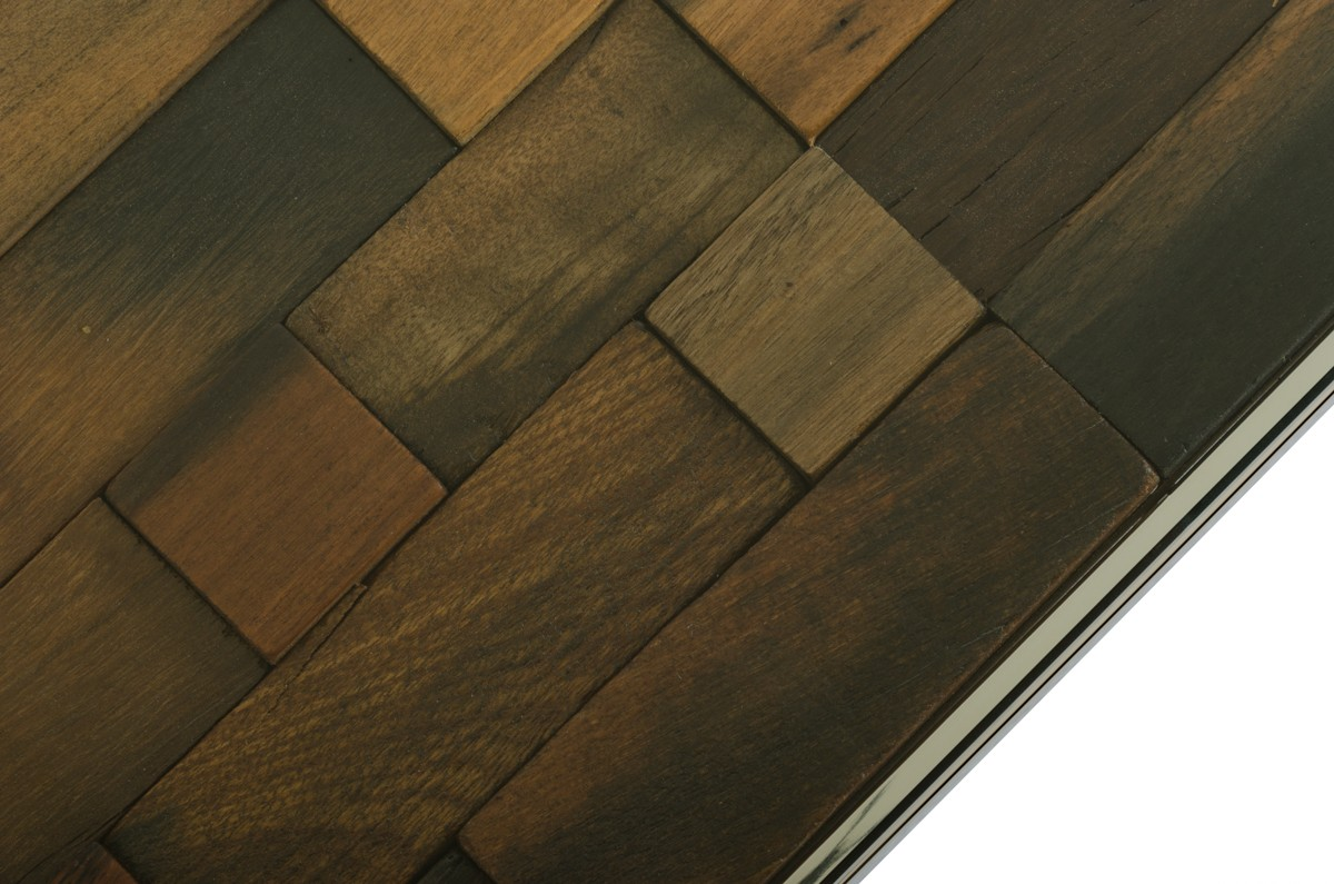 This is a close up shot of a mosaic tabletop called the Maine Wood Rectangular Glass Coffee Table