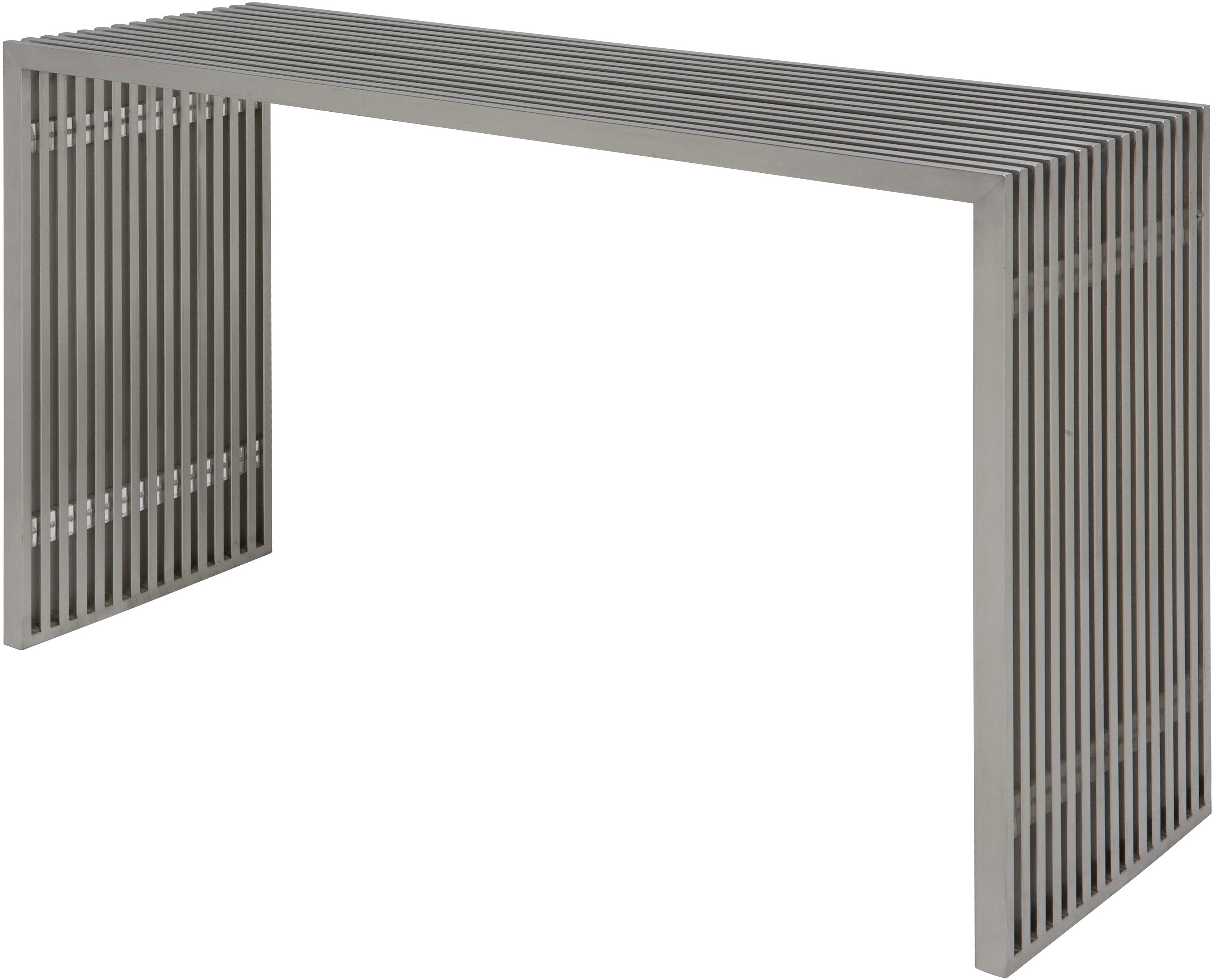 the nuevo amici console table in brushed stainless steel
