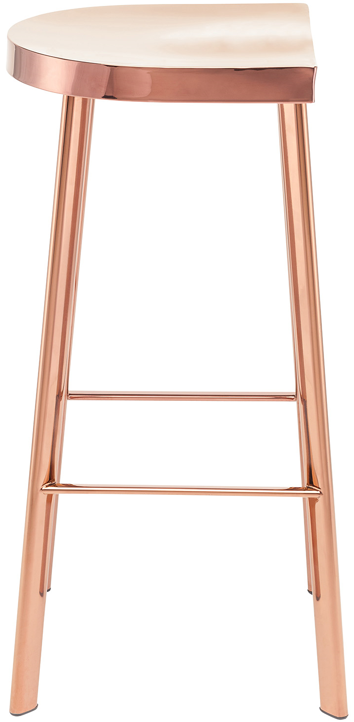 icon bar stool by nuevo in rose gold finish