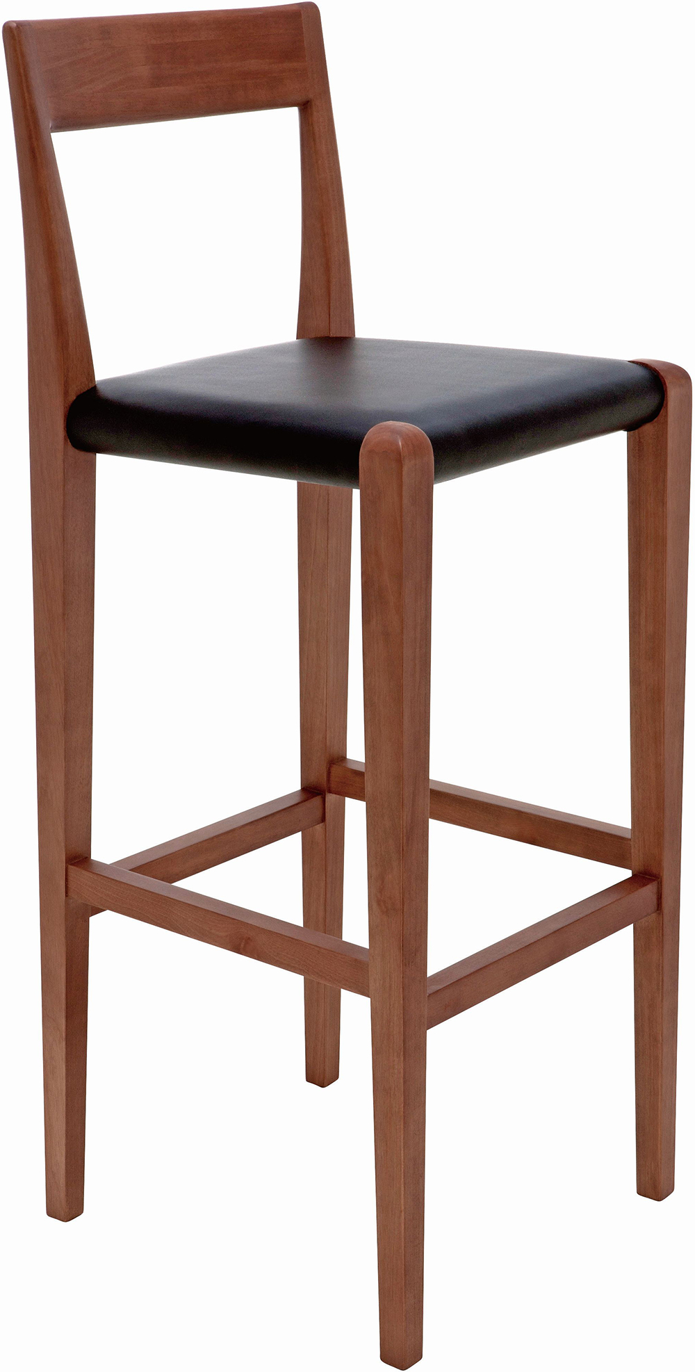 The Nuevo Living Ameri Bar Stool Is Made With Solid Birch Wood With Walnut Stain and Black Leather Upholstery.