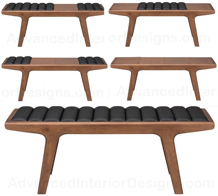 nuevo lucien bench - converts from cushioned seat to wood seat