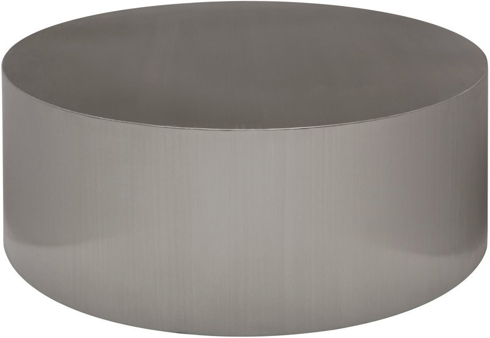 the nuevo piston coffee table in brushed stainless steel