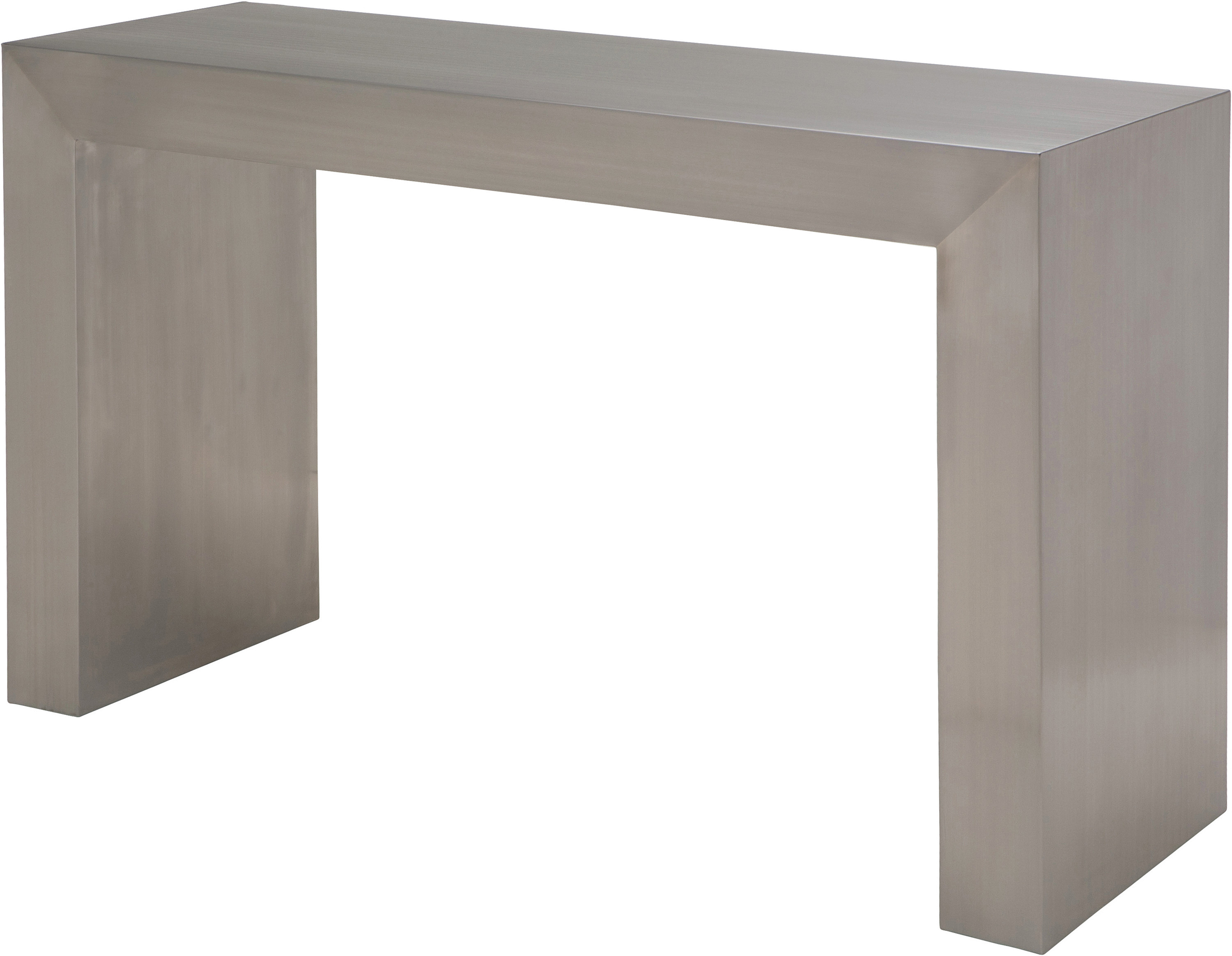 the nuevo reese console table brushed stainless steel
