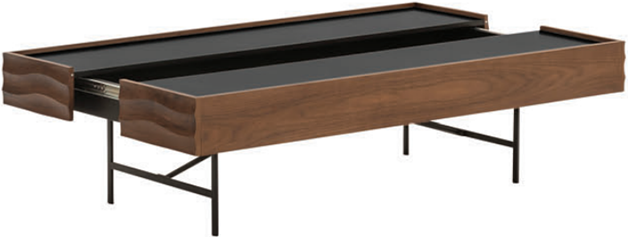 the nuevo swell coffee table in walnut