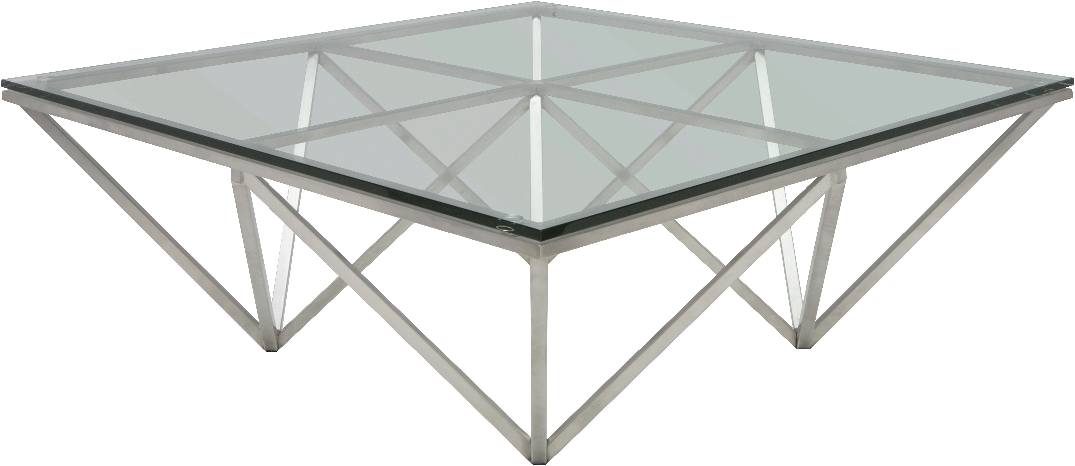 the oragami coffee table in brushed stainless steel
