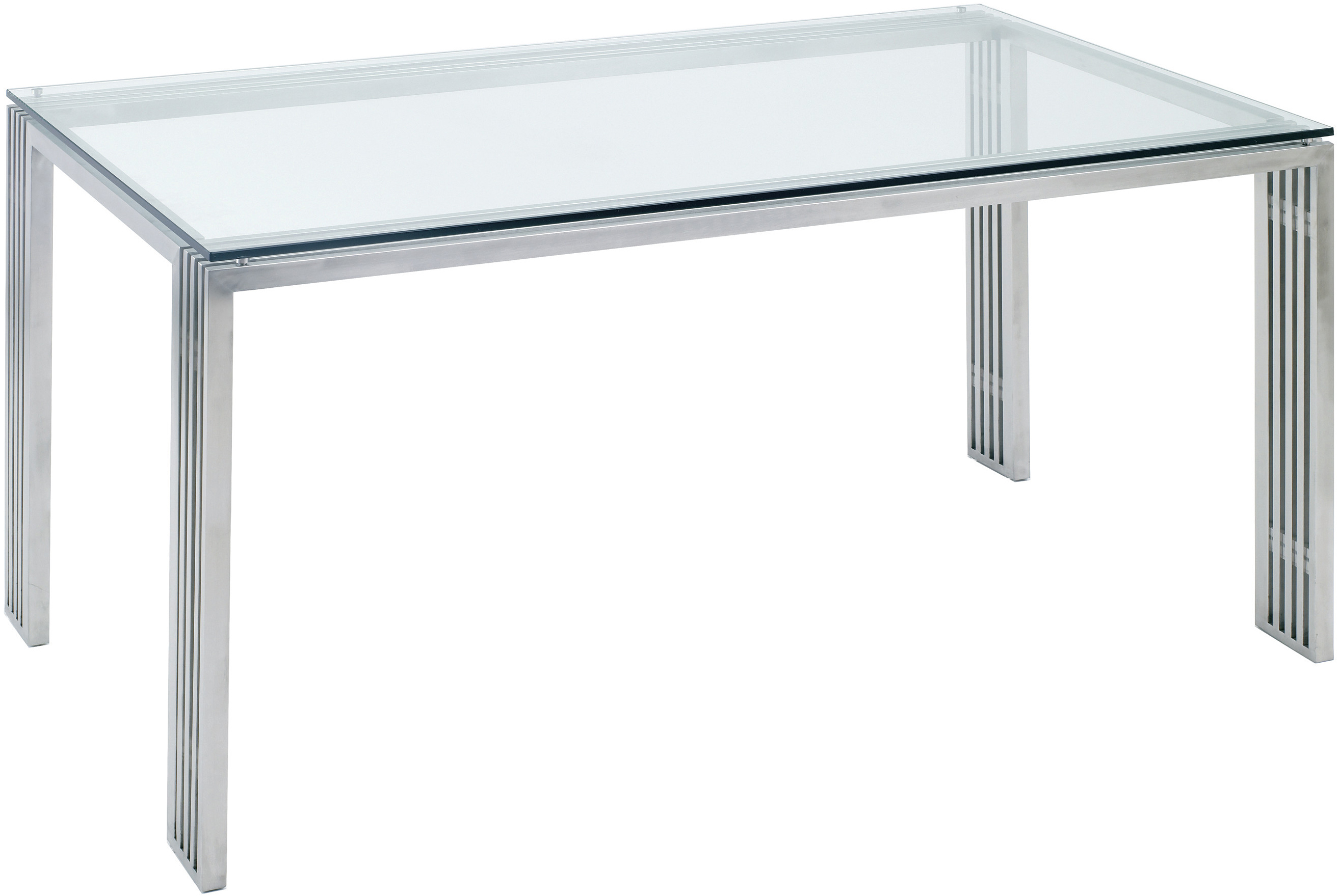 Quasi dining table brushed stainless steel dining table for Stainless steel dining table