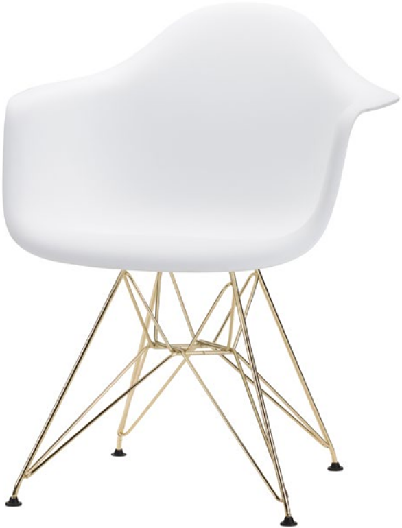 the ray dining chair in white gold