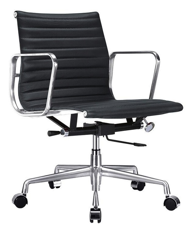 Charmant Ribbed Back Office Chair Black Leather ...