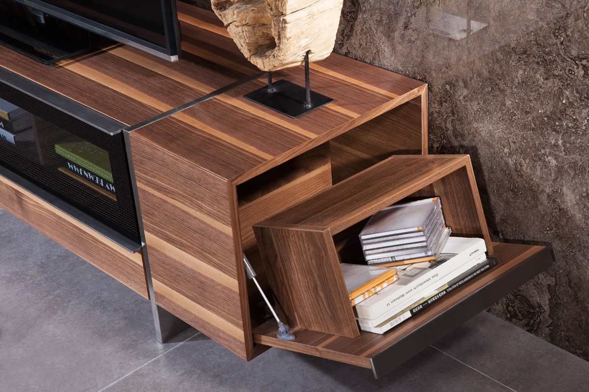 side of igor modern walnut tv stand