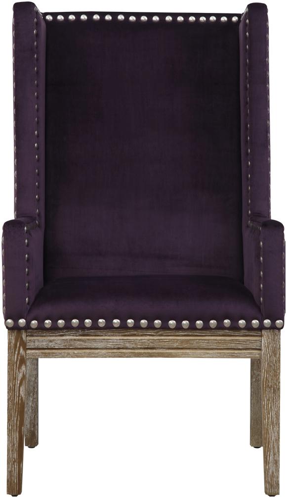 the velvet orianna arm chair in purple