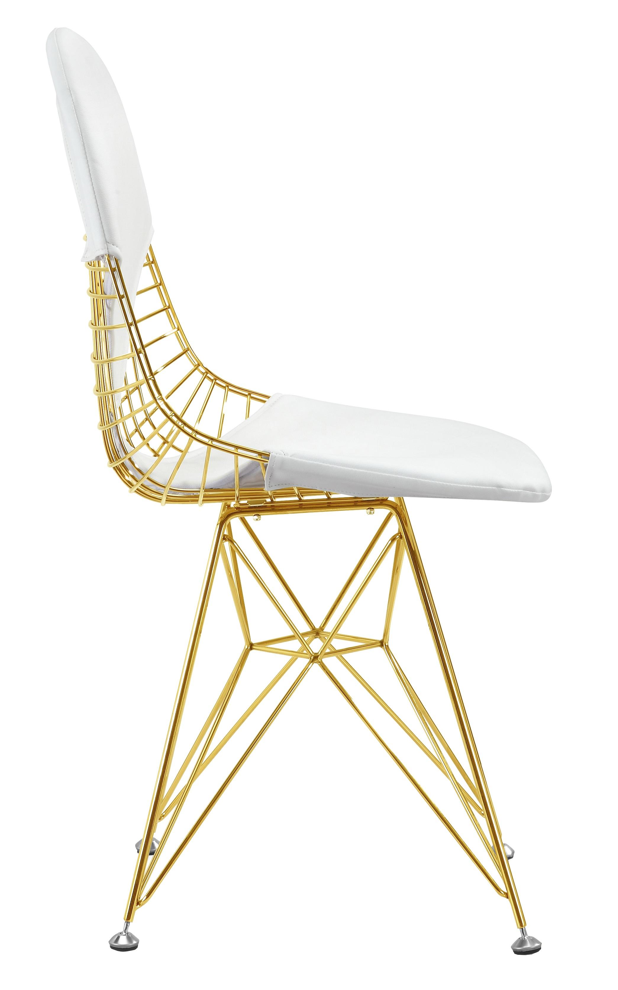 ... Wire Gold Chair White Cushion ...