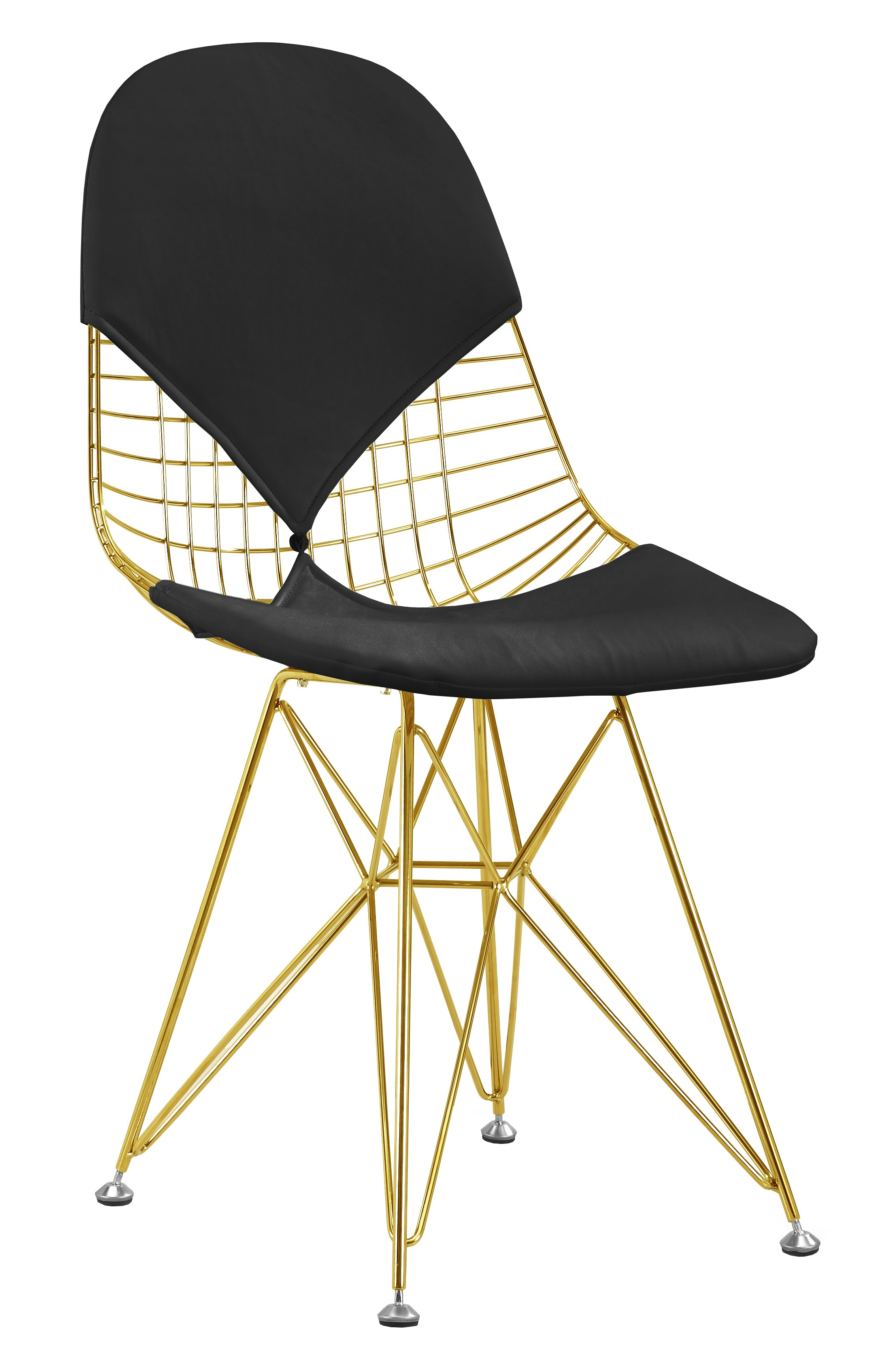 Wire Gold Chair With Black Cushion ...