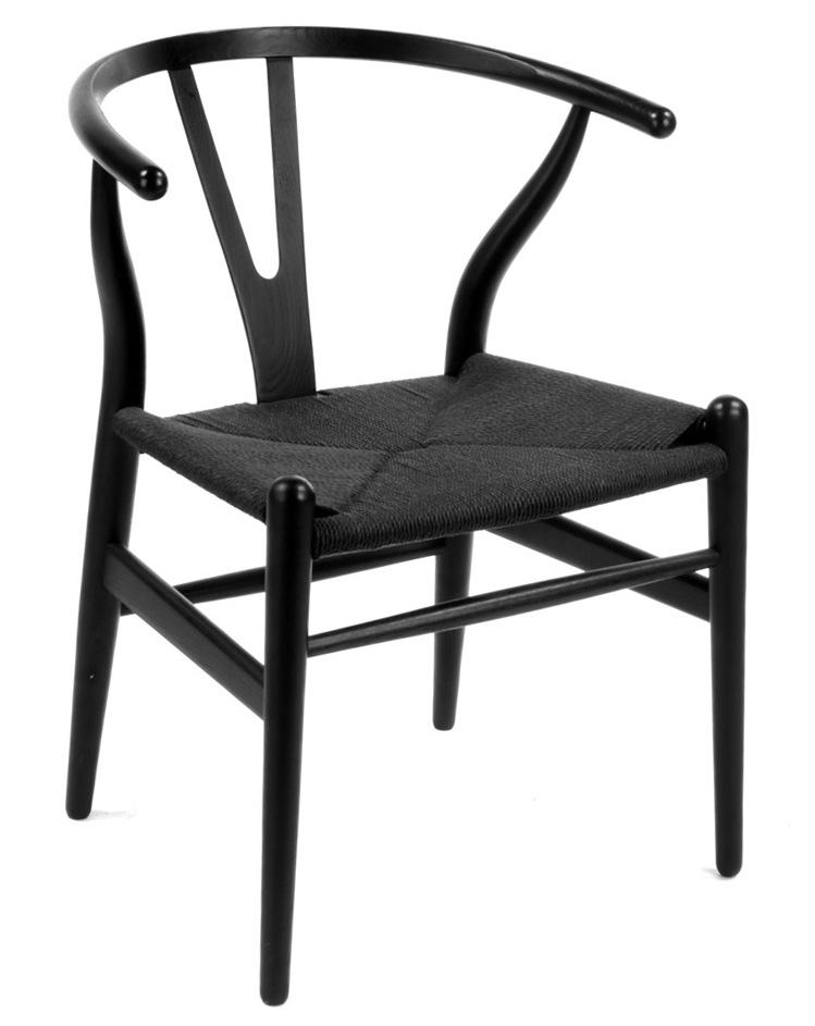 ... Wishbone Chair Black Seat ...