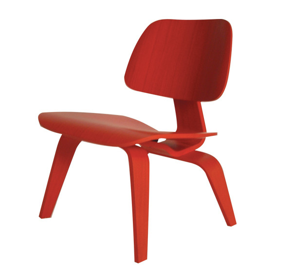 ... Molded Plywood Lounge Chair Red. Image 1